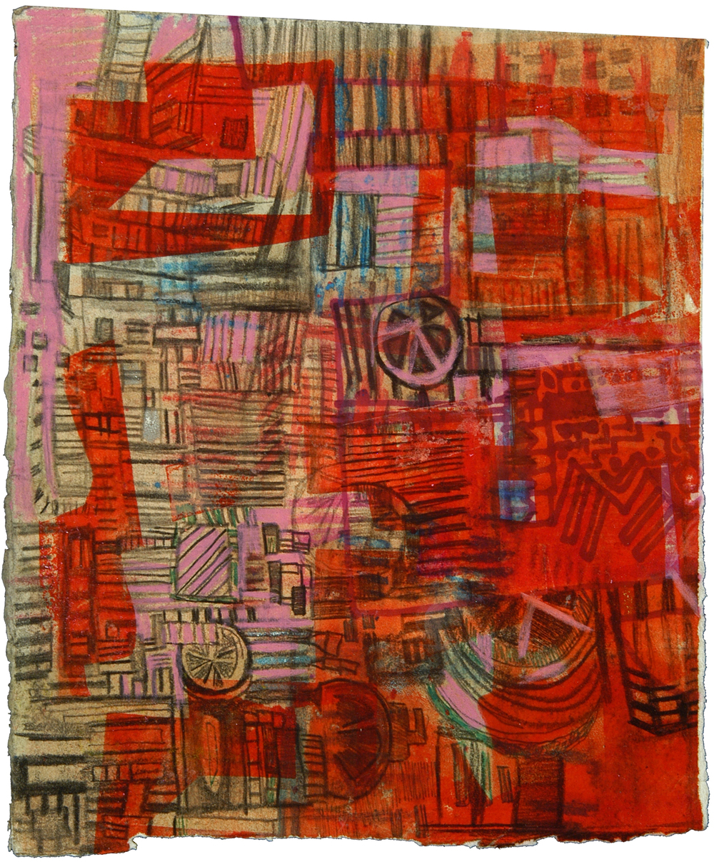 "Red Death Map | Pencil, marker, and ink on paper | 12"" x 7"" 