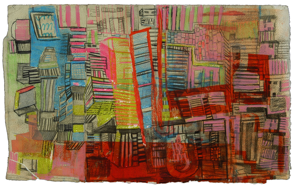 "Red Death Map2 | Pencil, marker, and ink on paper | 12"" x 7"" 