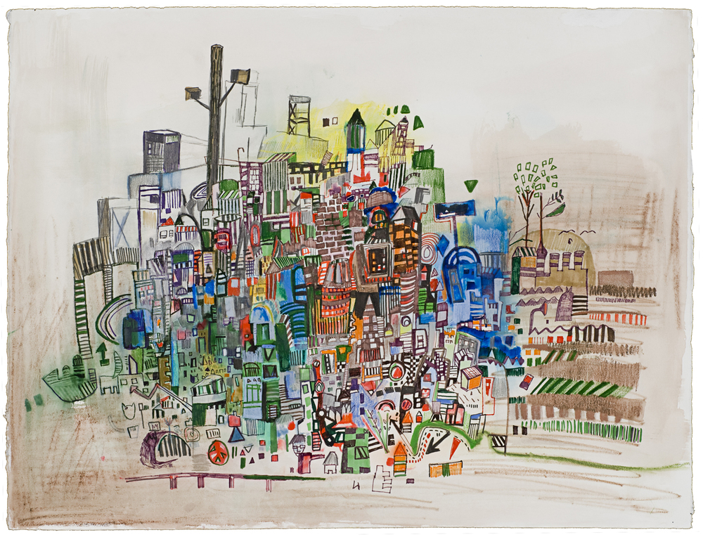 "Wood St.  | Pencil, marker, acrylic on paper | 20"" x 26"" 