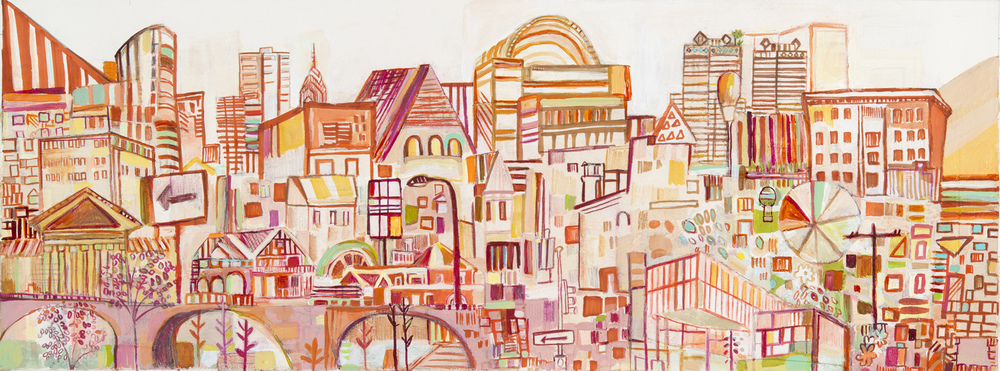 "20th St. Dreams | pencil, marker, watercolor, and acrylic on paper | 10"" x 28"" 