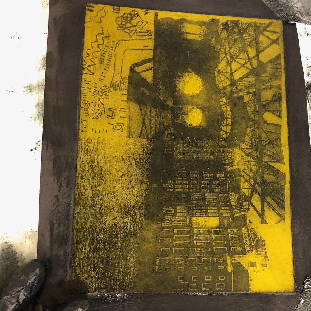 Class Collaborative Collage, Solar Plate demo