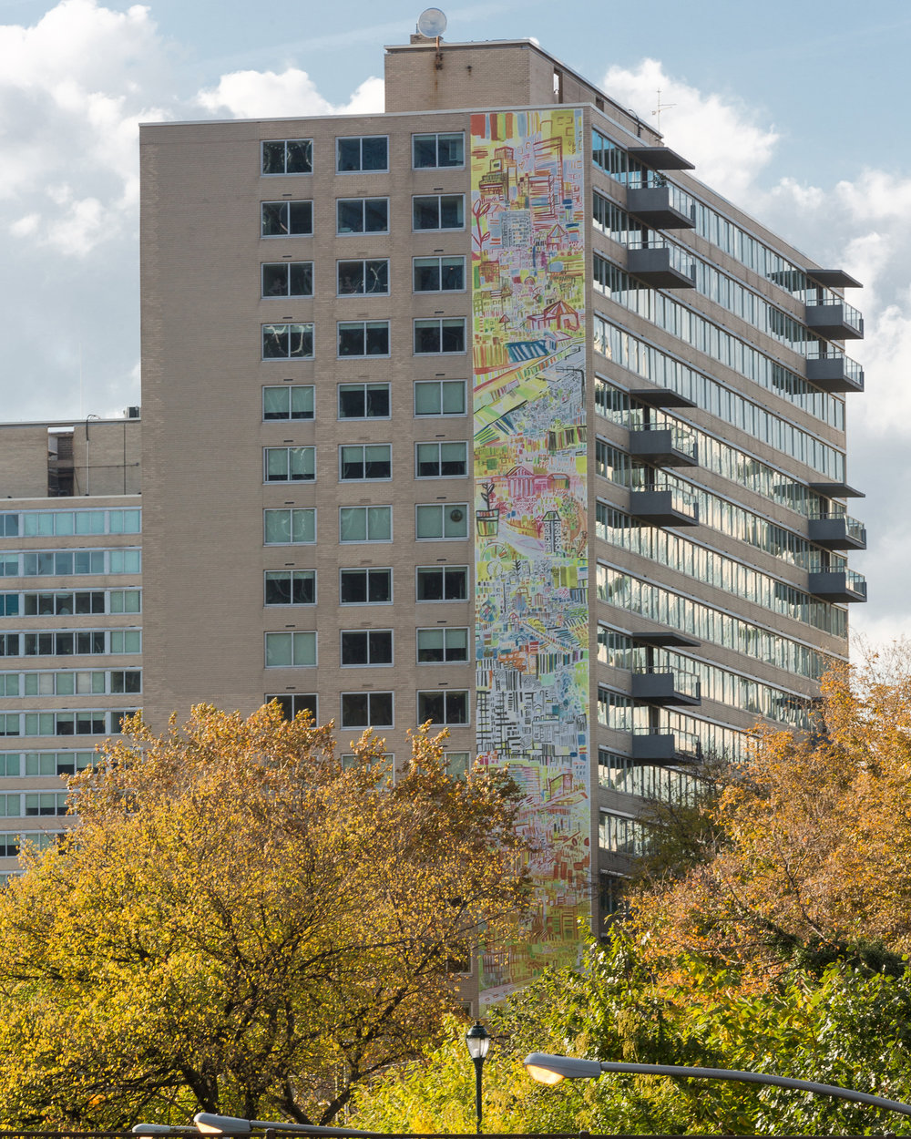 Parkway Daydreams, Parktowne Apartments, 2017  A project with The Philadelphia Mural Arts Program. Dedicated at the 2017 Parkway Centennial  Photography by Steve Weinik