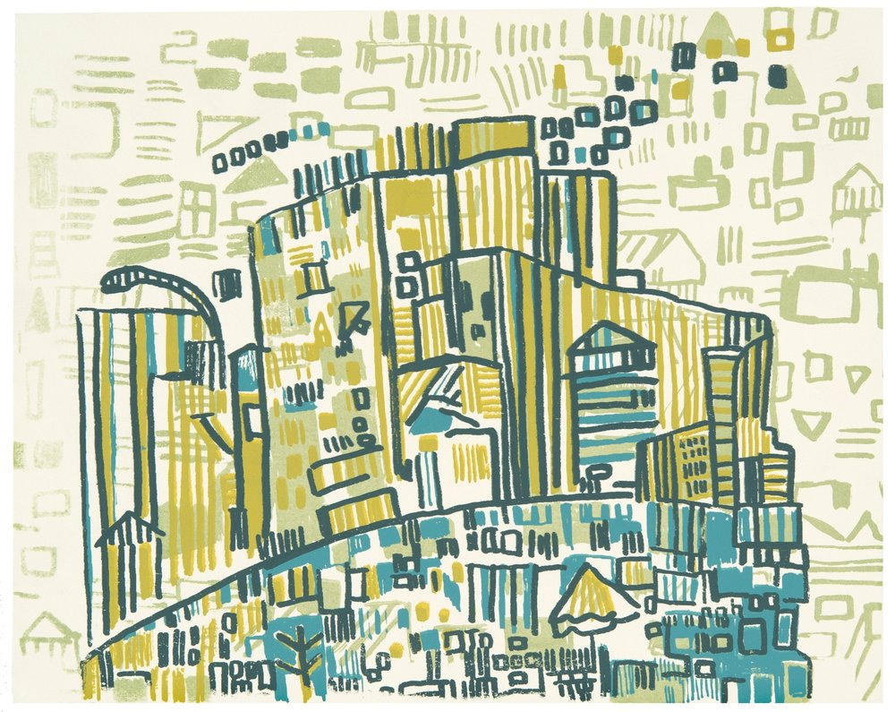 "17th St | four color screenprint on paper | 6"" x 8"" 