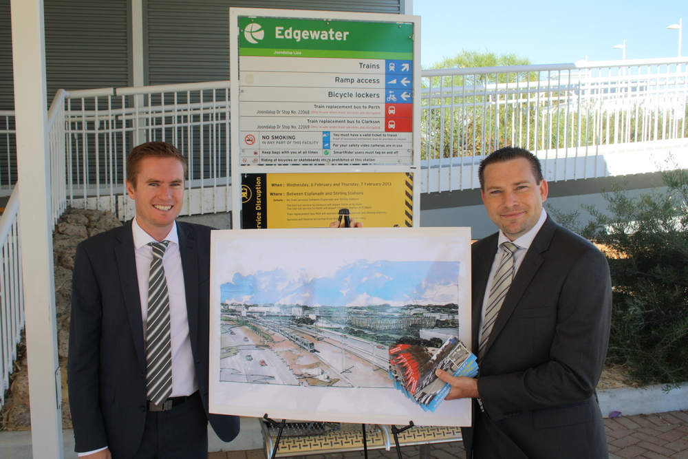 Albert with Joondalup MLA Jan Norberger at the announcement of the Edgewater Train Station Multi-storey car park.
