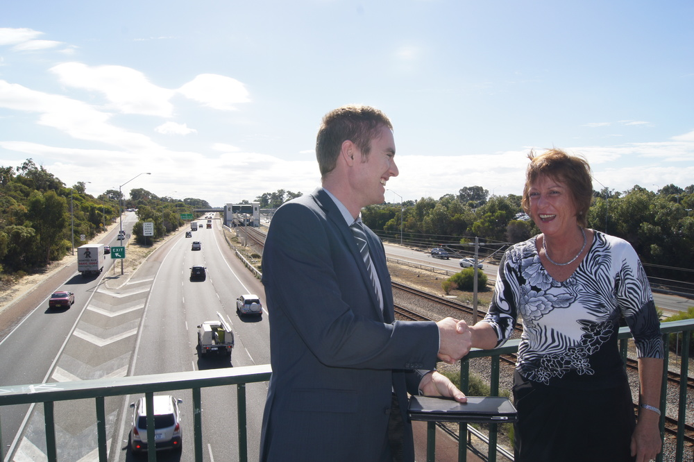 Albert with Andrea Mitchell MLA discussing the Freeway extension
