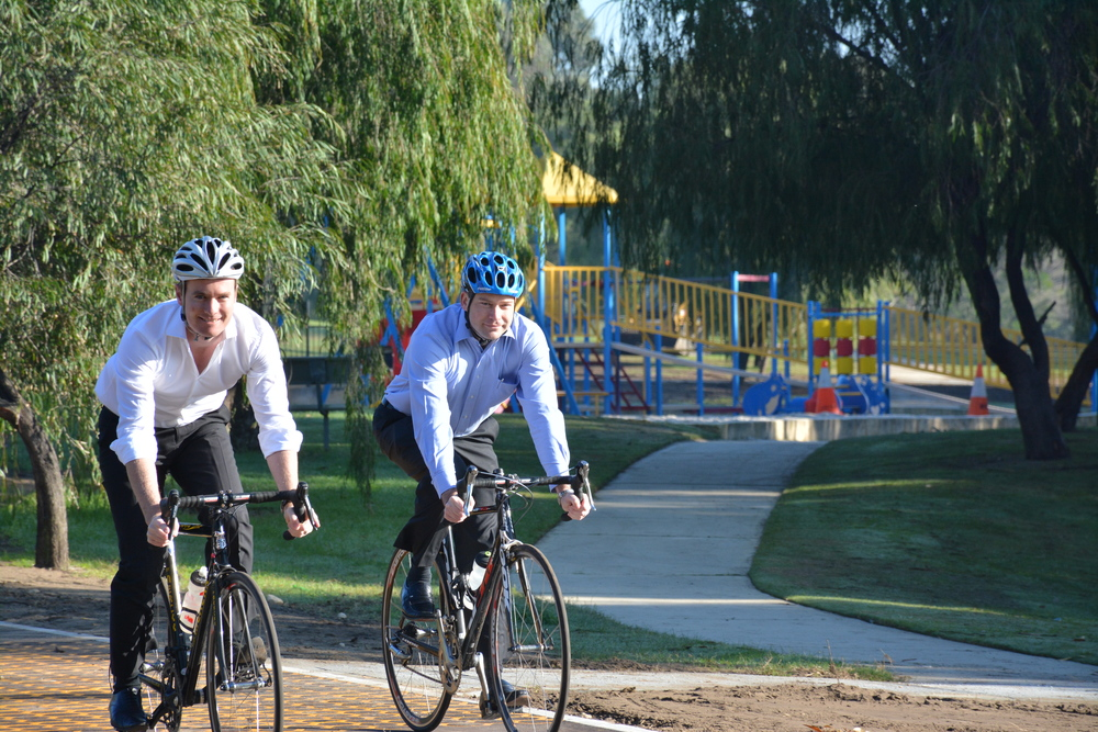 Albert with Joondalup MLA Jan Norberger testing out the new dual-use path.