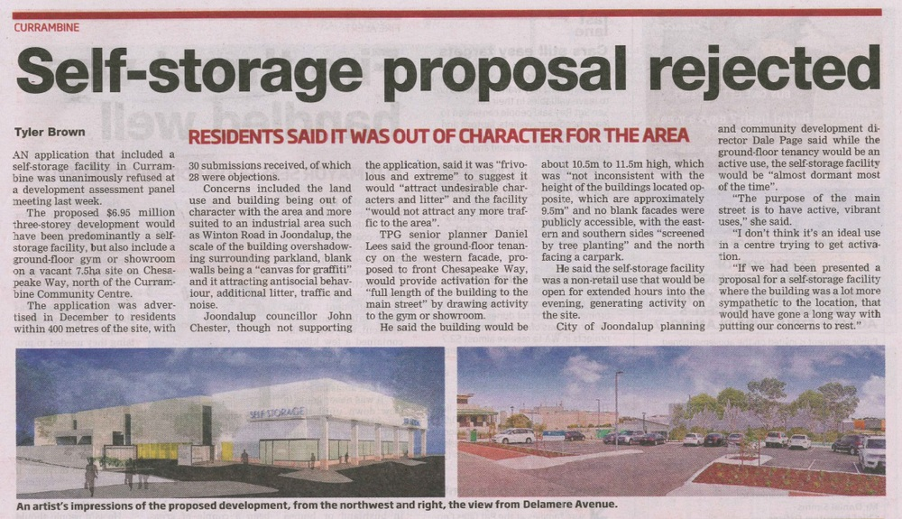 20 January 2015 - Currambine Self-Storage proposal rejected