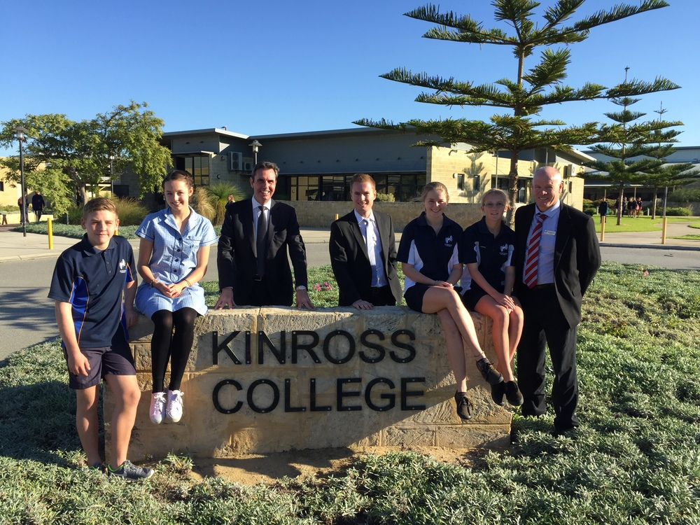 Albert & Minister Collier with Principal Rod Buckenara and students from Kinross College.