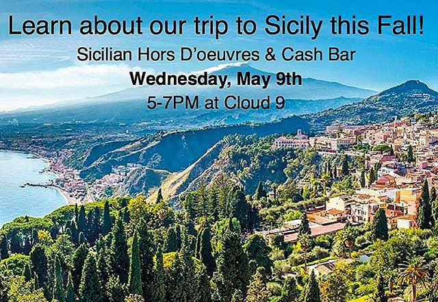 "TONIGHT 5PM! Fred & Maria invite you to @cloud9restaurant for Sicilian hors d'oeuvres, cash bar, and learn about our upcoming ""Adventures on the Italian Island of Sicily"" trip this October 21-29, 2018 -- or just stop by to say hello! Our certified travel consultant and lovely friend, Mary Anne Pulizzi, will be with us to share details about our trip to Sicily this Fall. ☀️ #exploreItaly #Sicily #DanieleItalyTrip #travel #adventure #ItalianFun"