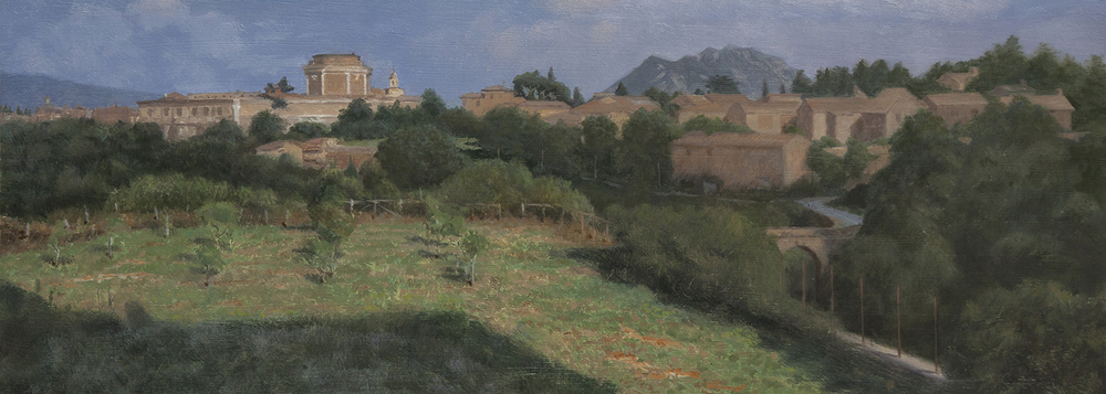 Fort Sangallo, Civita Castellana, from Villa Bianca, oil, © Fergus A Ryan, 2013