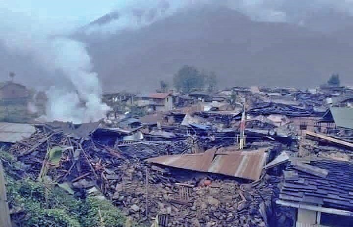 'Gorka village' is where our partners work year round', You can clearly see the devastation. Only a couple of people survived.