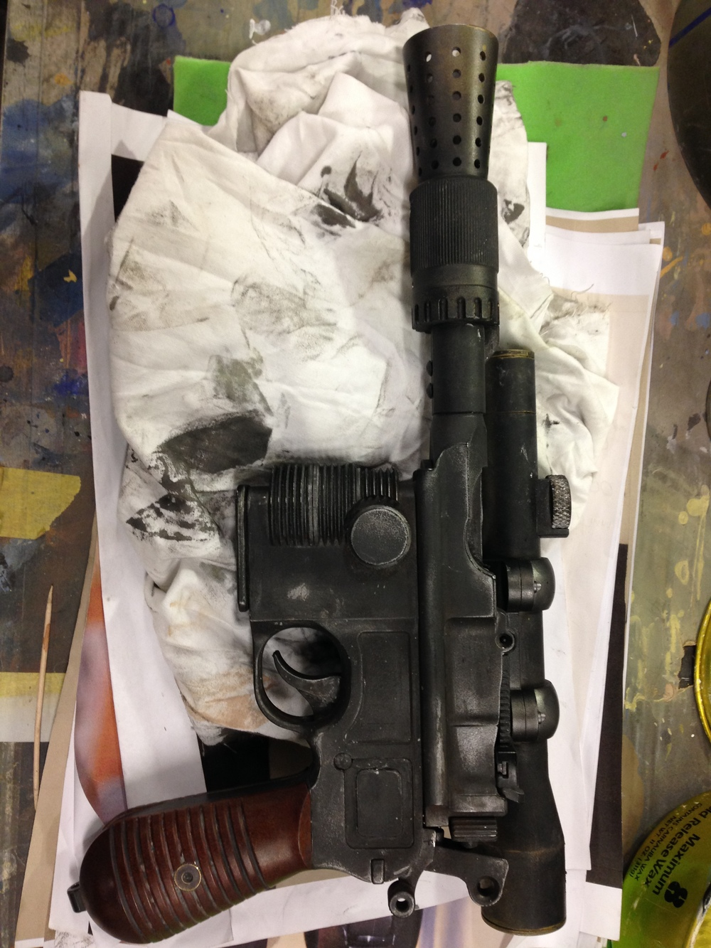 Replica Han Solo gun painted for merchandise job