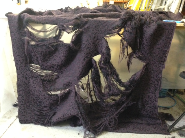 "fabric distressing and aging for ""Beauty and the Beast"""