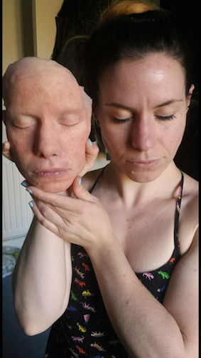 silicone face cast and painted
