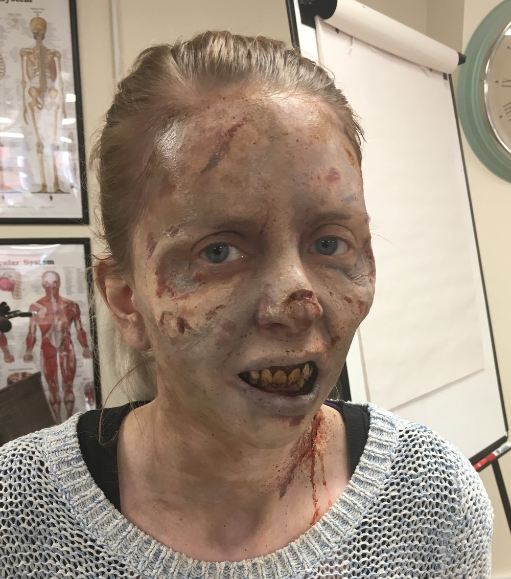 Zombie look, made with Prosthetic Transfers and painted with European Body Art, on Brian Kinneys Ultimate Zombie weekend course at Titanic Creative Managment. Prosthetics from Brian Kinneys HURT BOX