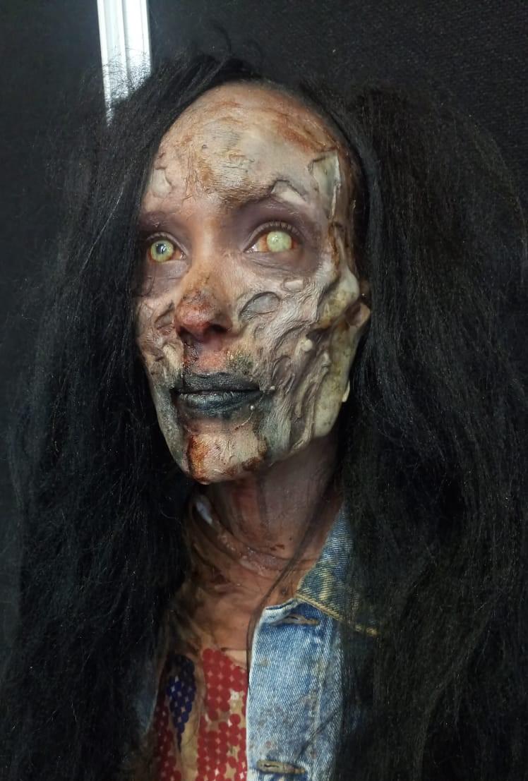 Zombie Prosthetic from KMEFFECTS ltd, applied by me and Tytti Vaaleri
