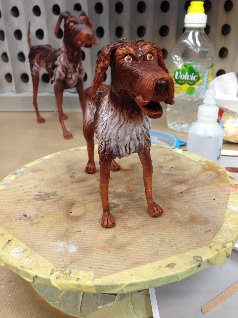 Stand in King puppet painted for Isle of Dogs