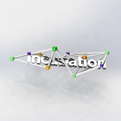 CAD render  and 3D print of Ravensbourne Incubation Logo