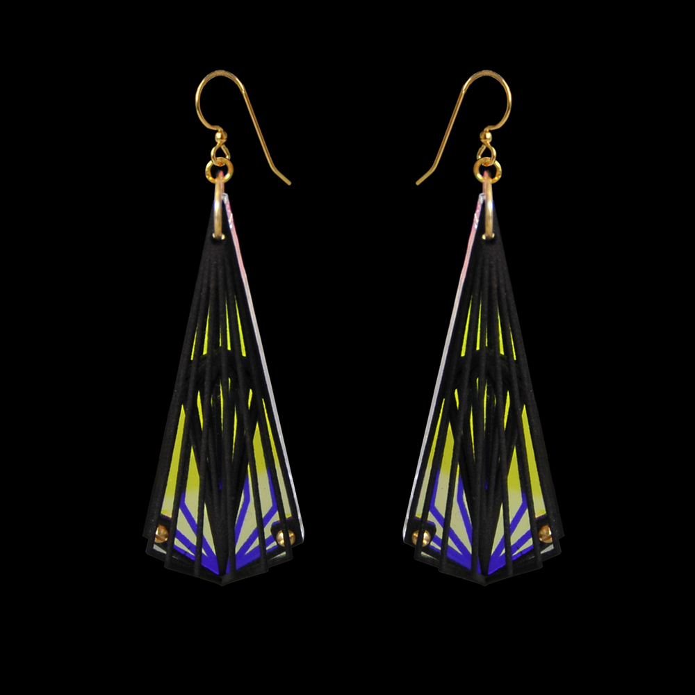 Linnora Earrings: 3D printed in Black Plastic with Acrylic