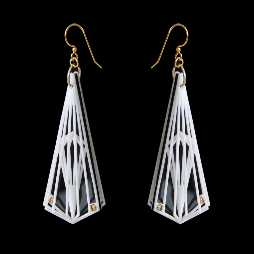 Spirato Earrings: 3D printed in White Plastic with Acrylic