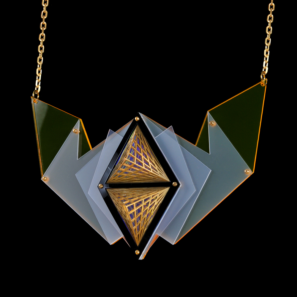 Surana Necklace: 3D Printed Brass and Lasercut Acrylic