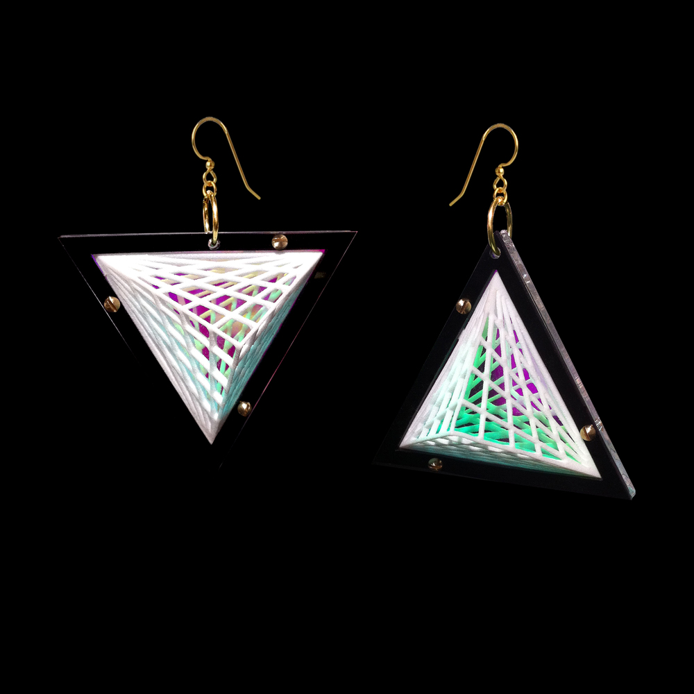 Natina Earrings: 3D Print and Acrylic back