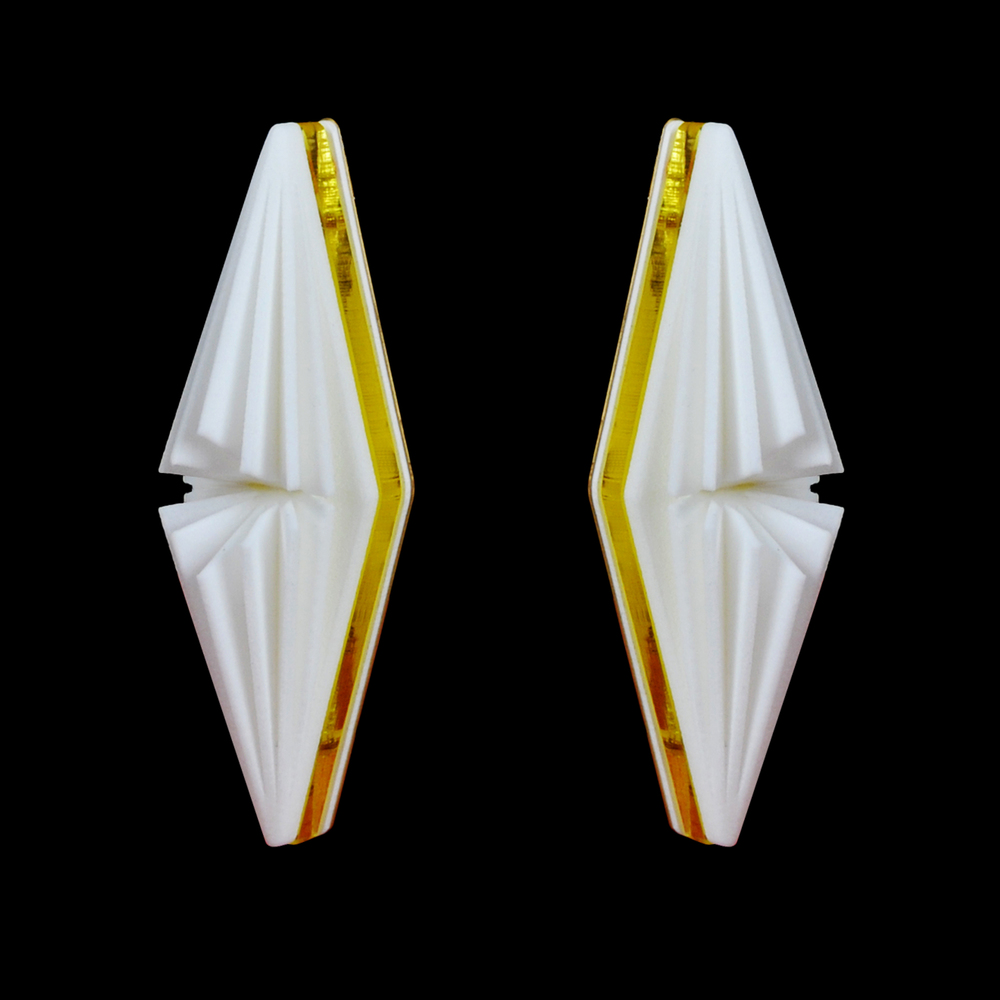 Tasura Earring: 3D print with Acrylic and Brass