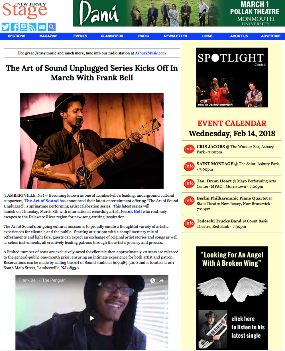 NJ Stage Magazine - Click to read the story