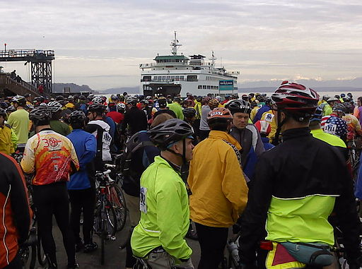 Cyclists wait for the ferry from Seattle to Bainbridge Island for 2010's annual Chilly Hilly bike ride. Courtesy of Gene Bisbee, Flickr Creative Commons.