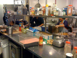 At work in the kitchen.