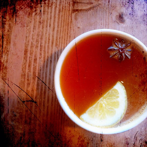 """""""Hot apple cider with lemon, ginger and star anise @le pain quotidien."""" Photo courtesy of tibbygirl on Flickr Creative Commons."""