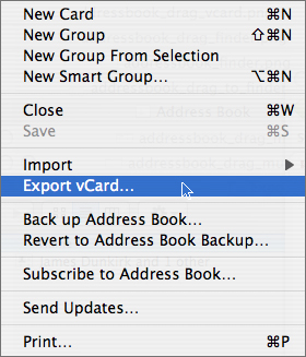 Export Group vCard CRM Address Book Mac Macintosh