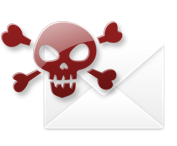 Spam filter trap email skull envelope