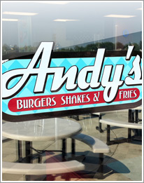 Andy's Burgers and Fries sign
