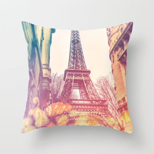 Colourful view of the Eiffel Tower, Decorative pillow case