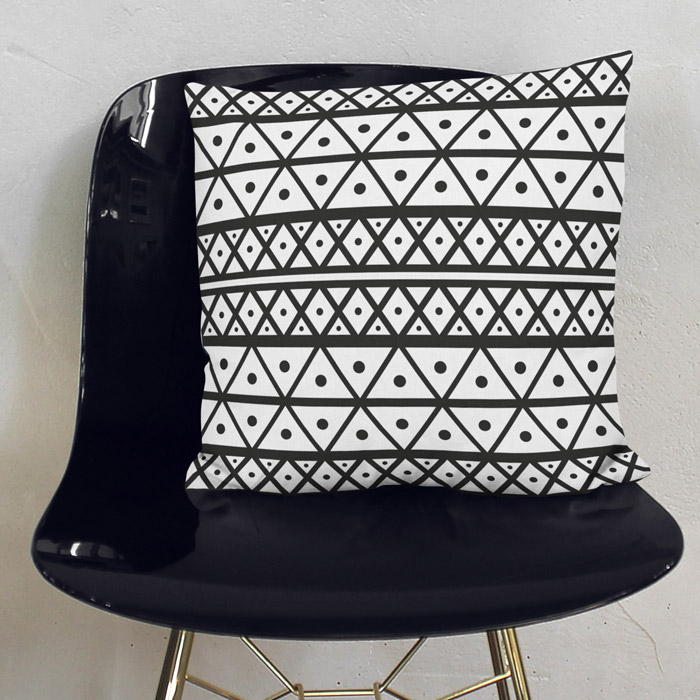 Black & White African Pattern Throw Pillow