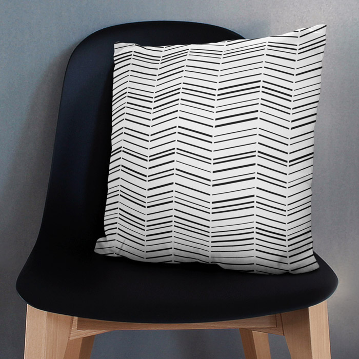 Black Herringbones throw pillow
