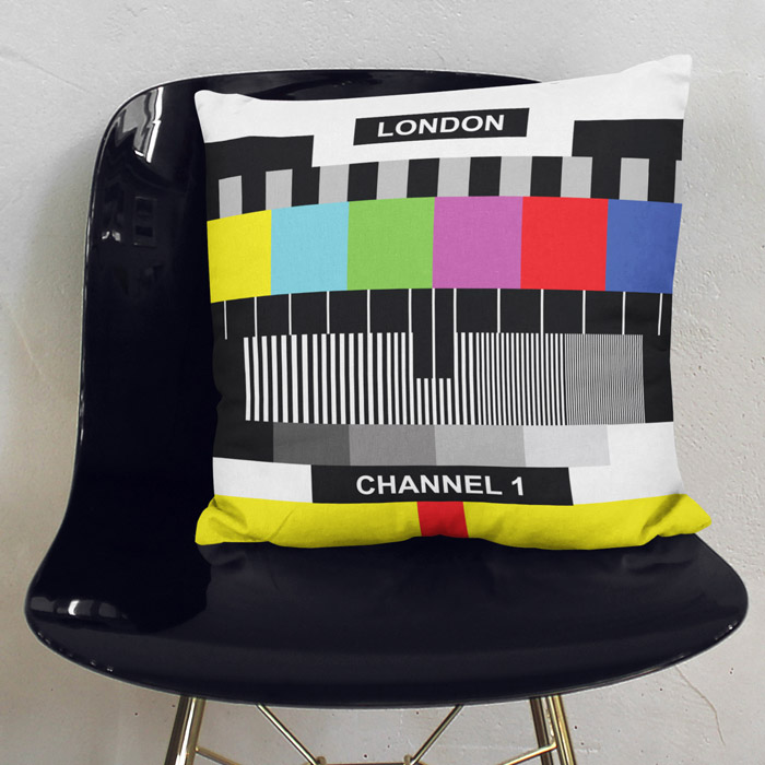 London Channel 1 TV Sign Throw pillow