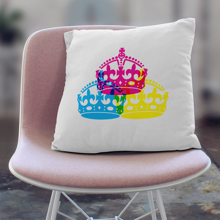 3 British crowns Throw pillow