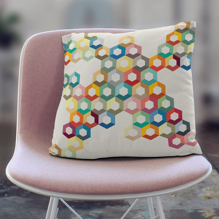 Geometric honeycomb throw pillow