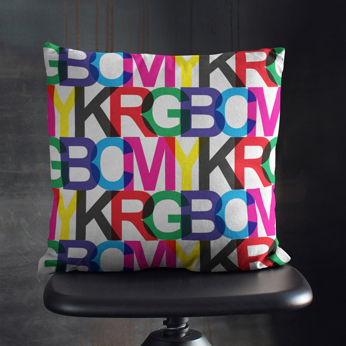 CMYK-RGB modern typographic throw pillow