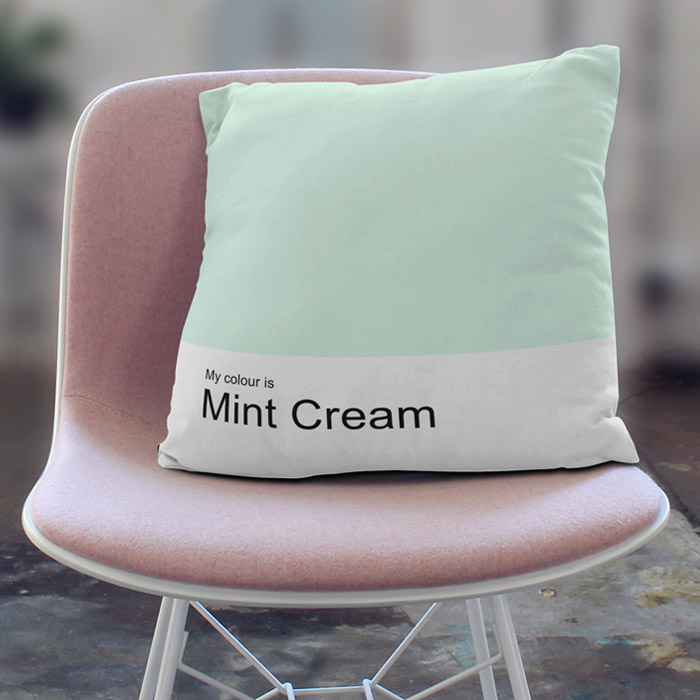 """My colour is Mint Cream"" freshly minty throw pillow"