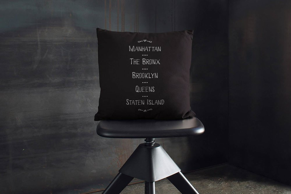 New York City's Borough throw pillow