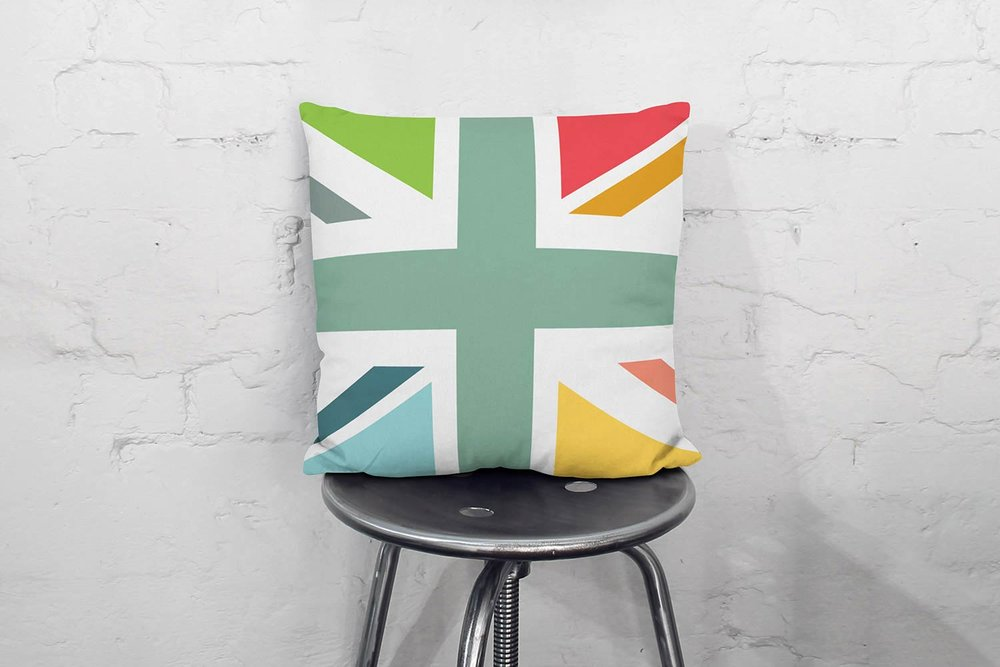 Colourful contemporary Union Jack Throw pillow