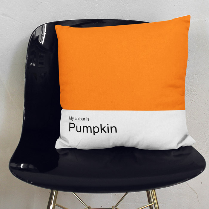 """My colour is Pumpkin"" freshly minty throw pillow"
