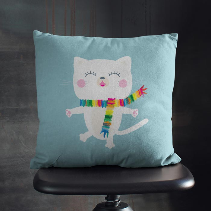Happy white cat throw pillow