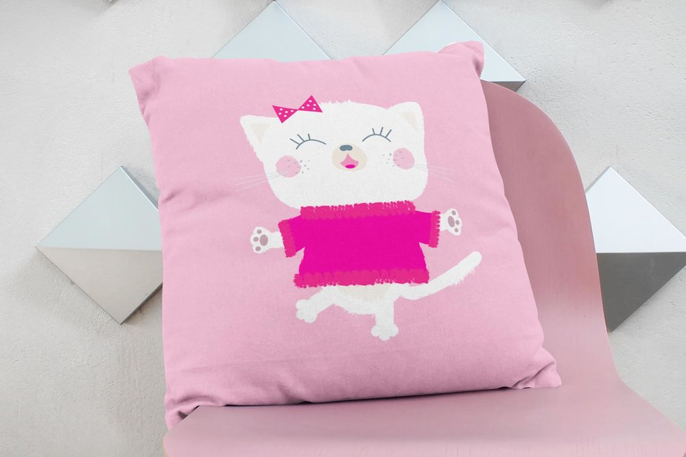 Smiling kitten throw pillow
