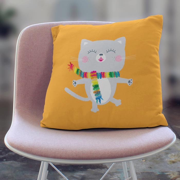 Happy grey cat throw pillow