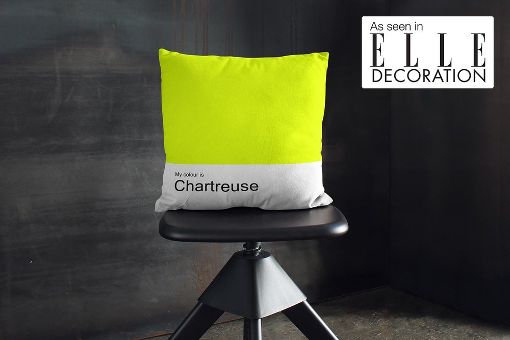"""My colour is Chartreuse"" dazzling and throw pillow - As seen in ELLE DECORATION"