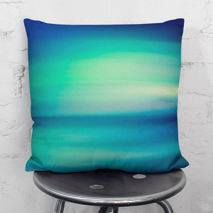 """Boreal Lights"" green and blue throw pillow"